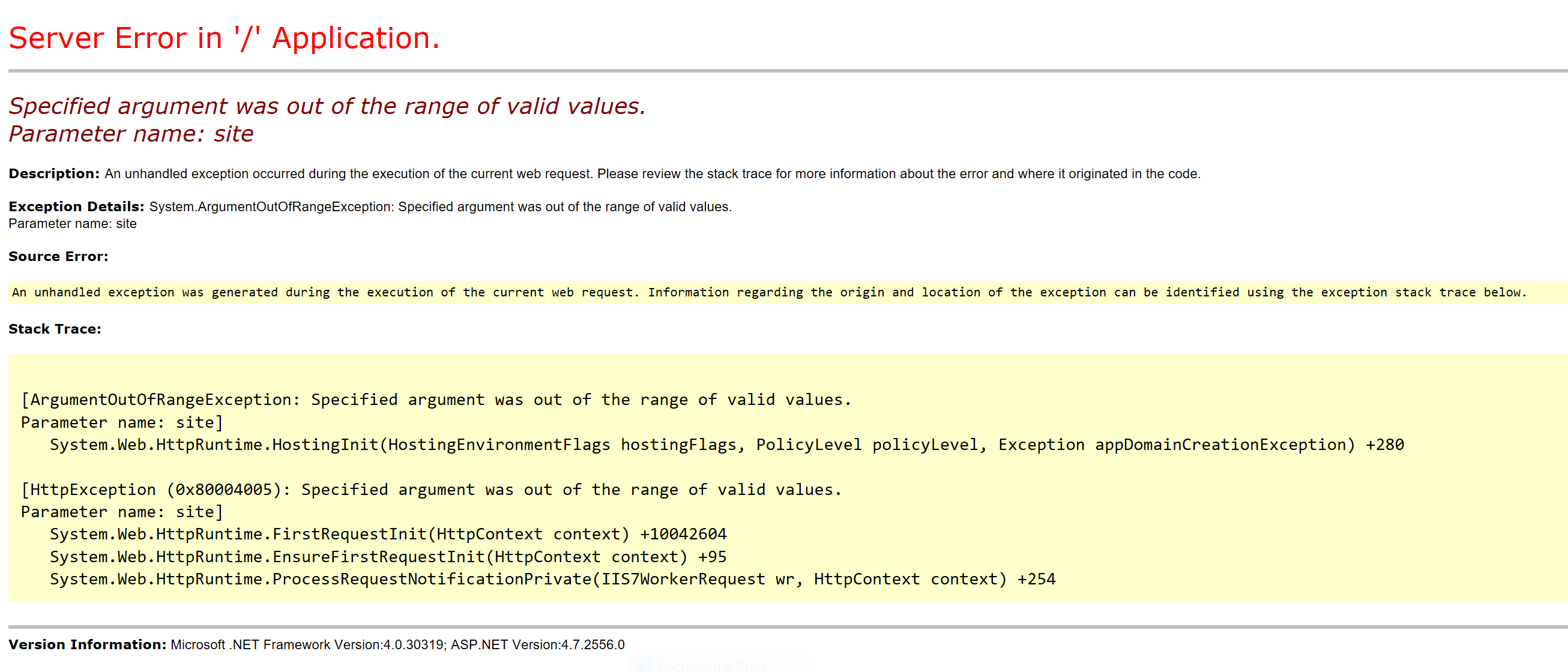 Specified argument was out of the range of valid values 0x800004005